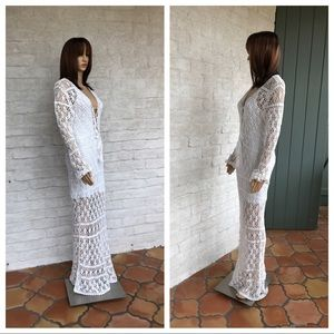 Anna Kosturova White Cotton Crochet Bianca Dress