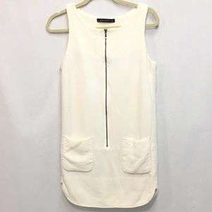 Zara Cream Zipper Dress