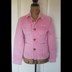 Anthropologie Tulle Corduroy Pink Jacket Large