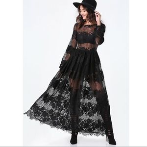 BEBE LACE BOATNECK GOWN DRESS SOON