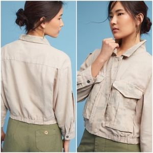 Anthropologie Ronan Crop Linen Jacket Size Medium