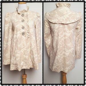 Anthropologie Latte Swirl Velour Coat