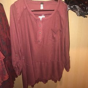 Free people burgundy distressed tunic top L NWT