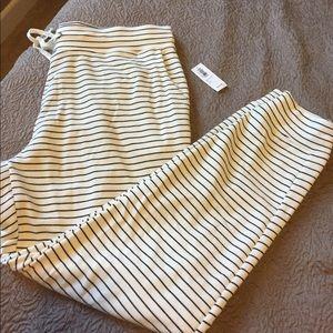 Cream and black stripe sweatpants