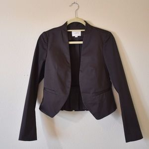 LOFT Cropped Jacket-Pleated Back-Brown-Size 2