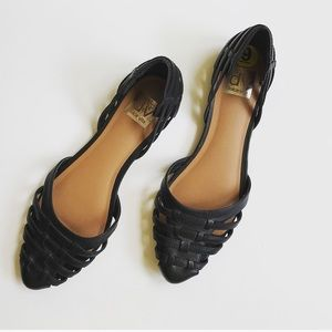 Dolce Vita cut out D'Orsay flats in black leather