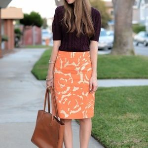 J Crew Pencil Skirt Size 6 Orange & Gold