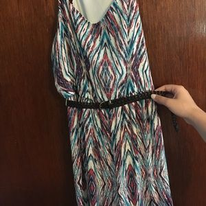 Patterned maxi dress with belt
