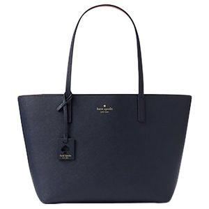 Kate Spade Shoulder Leather Handbag Tote Navy Blue