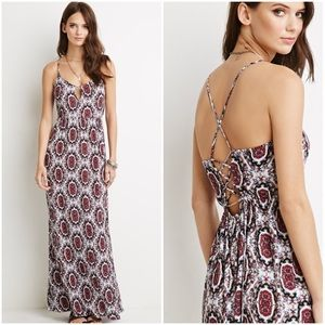 Forever 21 Medallion Printed Long Maxi Dress M