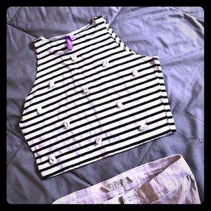 LF Crop striped with Daisies