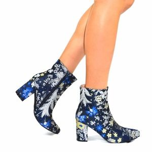 Chase & Chloe Shoes - Chase & Chloe Wayne-1 Navy Floral Ankle Bootie