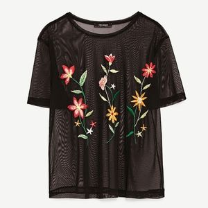Floral Embroidered T-shirt from Zara