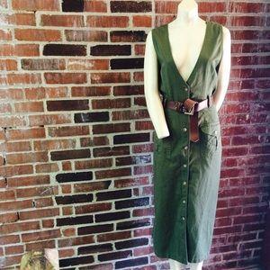 Vintage 90s  Olive Utilitarian Maxi Dress