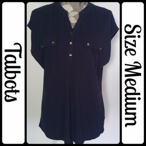 Sz M Talbots Soft T-Shirt, Navy Blue