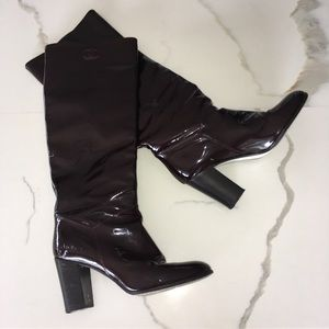 CHANEL ~ rare brown patent leather knee high boot