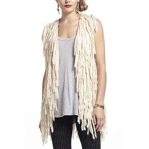 Anthropologie McGinn Fringe Sweater Vest, Cream