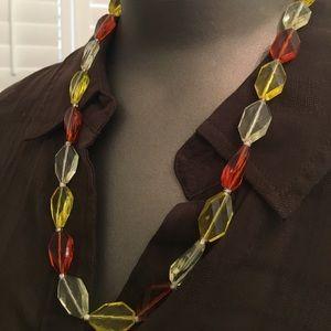 Lucite prism necklace vintage yellow orange clear