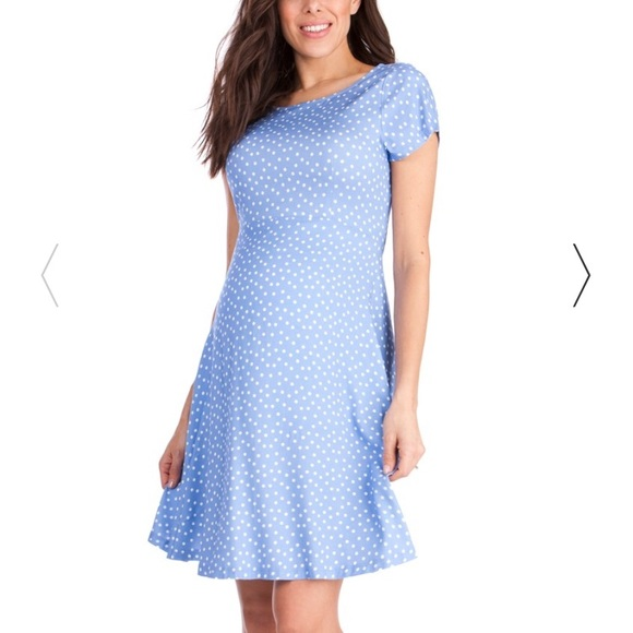 1204379a9ed Seraphine Blue Dot Woven Maternity Dress Size 6