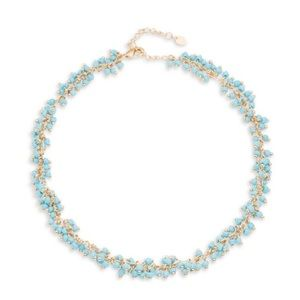 NWT Goldtone beaded necklace with turquoise beads