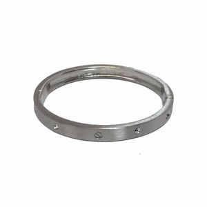 Mute Silver-Tone Screw Bangle Bracelet