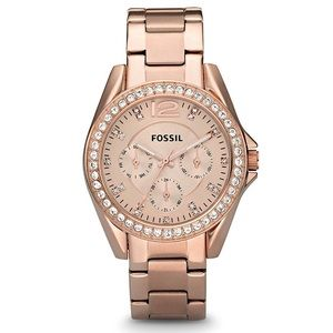 Rose Gold and Crystal Fossil Watch
