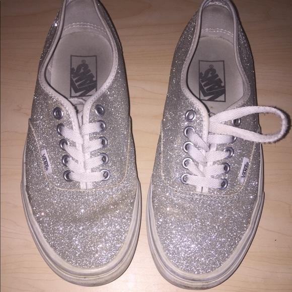 ffc8e9b0f5f6 Vans Shoes | Women Silver Glitter Sneakers Size 8 | Poshmark