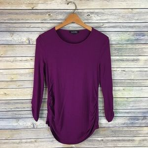 Isabella Oliver Maternity Purple Ruched Top