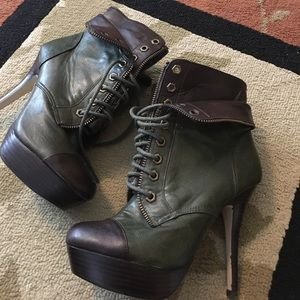 Olive green and brown boots