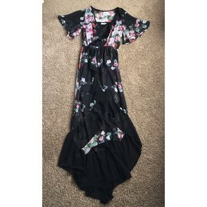 Floral ruffle high low dress Tobi size small