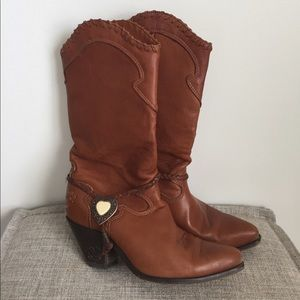 Leather cowgirl boots Embellished