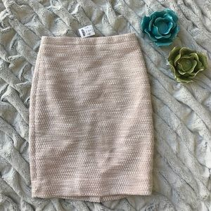 J. Crew Pink, White, and Silver Pencil Skirt NWT