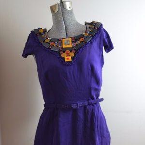 Catherine Malandrino Purple Silk Belted Dress Sz 4