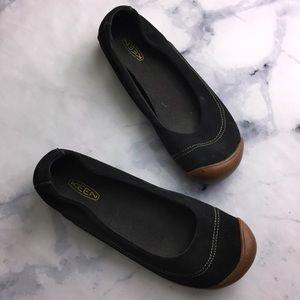 KEEN Black Canvas Rivington Toe Ballerina Flat
