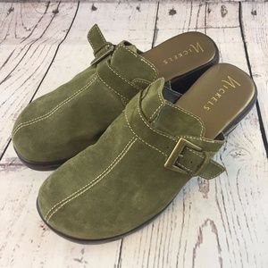 -NICKELS- Green Suede Leather Buckle Mule Shoes