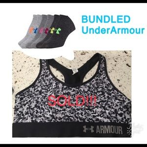 BUNDLED UnderArmour Sports Bra and 6pairs socks.