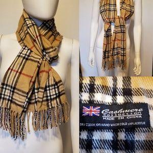 CASHMERE COLLECTION Tan plaid soft scarf