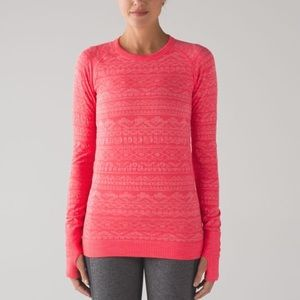 Lululemon restless pullover in electric coral