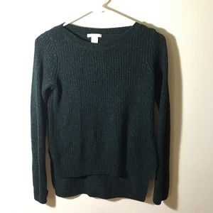 H&M Green Glittered High-Low Sweater