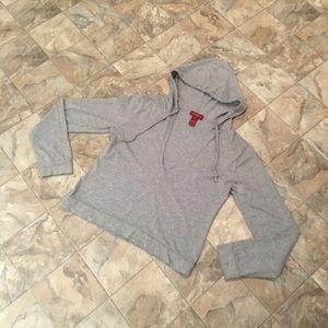 SUNDANCE grey v-neck hoodie