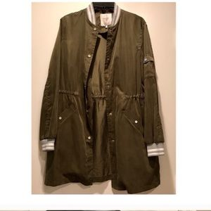 Zara long line varsity bomber jacket
