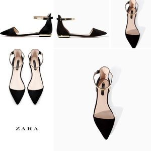 New Zara Pointed Flats w/ Gold Ankle Strap