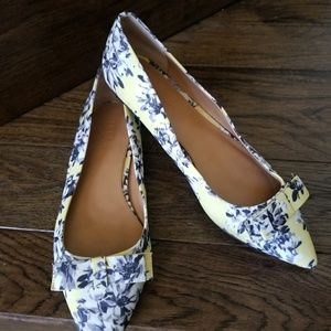J. Crew yellow white Gray black floral heels