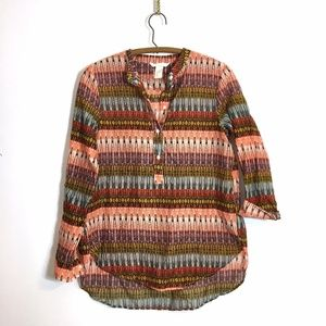 H&M Cotton Popover in Boho Tribal Indian Print