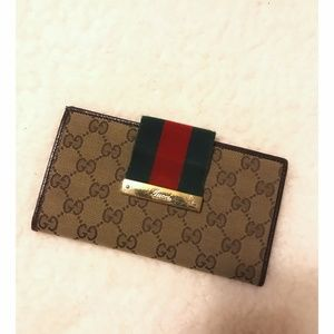 Gucci Web GG Canvas Continental Wallet