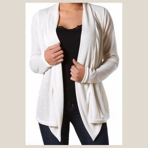 Tops - NEW Cream Ribbed Drape Cardigan Top