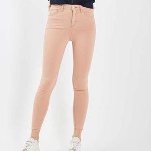 Topshop Jamie Moto blush jeans