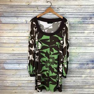 Analili Green Brown Floral Long Sleeve Shift Dress