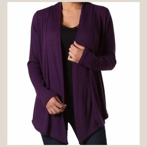 Tops - NEW Purple Ribbed Drape Cardigan Top