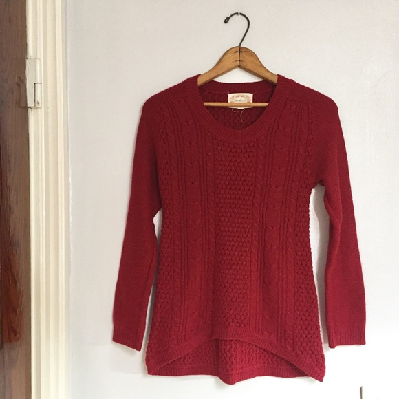Ambiance - Ambiance warm red knit high low sweater from Kate's ...